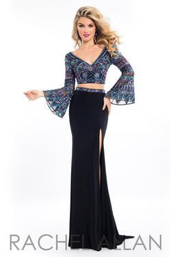 Style 7517 Rachel Allan Black Size 10 Bell Sleeves Jersey Side slit Dress on Queenly