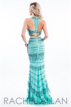 Style 7538 Rachel Allan Green Size 4 Jersey Mermaid Dress on Queenly